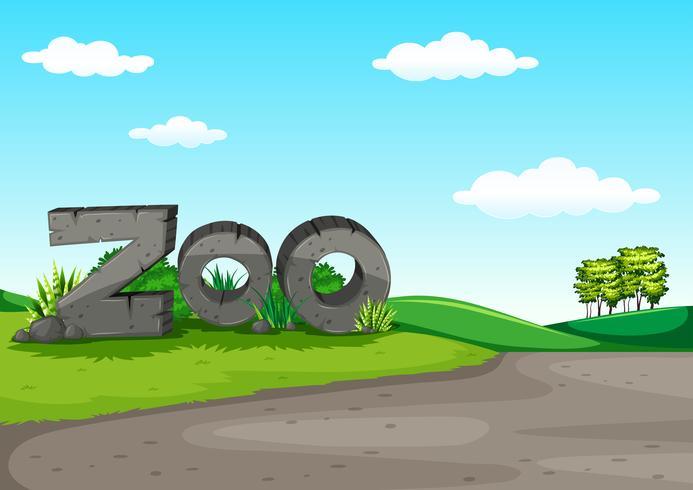 Cena do jardim zoológico com campo verde