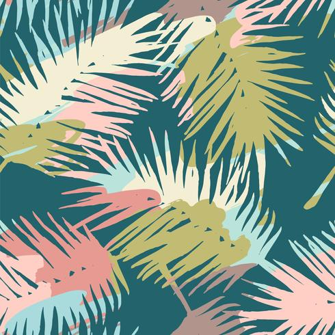 Seamless exotic pattern with tropical plants and artistic background vector