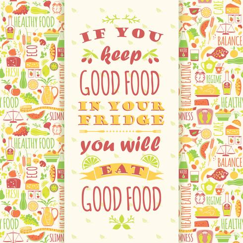 Fundo de alimentação saudável com citação