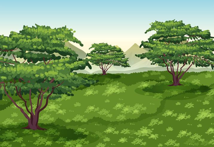 Bakgrundsscen med träd och grönt fält