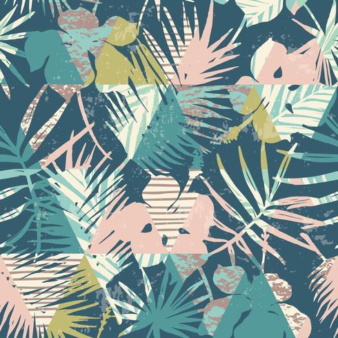 Nahtloses exotisches Muster mit tropischen Anlagen und geometrischem Hintergrund.