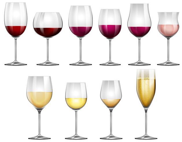 Copas de vino rellenas de vino tinto y blanco. vector