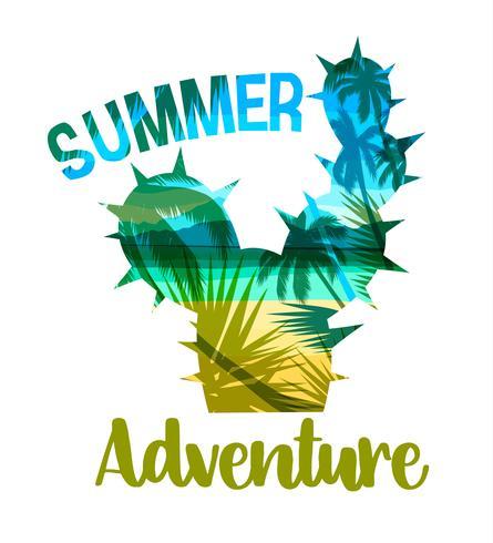 Imprimé d'été sur plage tropicale avec slogan pour t-shirts, affiches, cartes et autres usages. vecteur