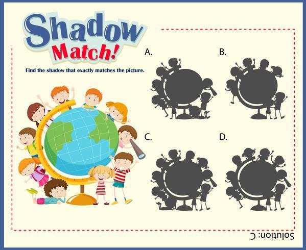 Plantilla de juego para niños que combinan sombras