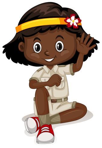 Ragazza dell'afroamericano in attrezzatura di safari vettore