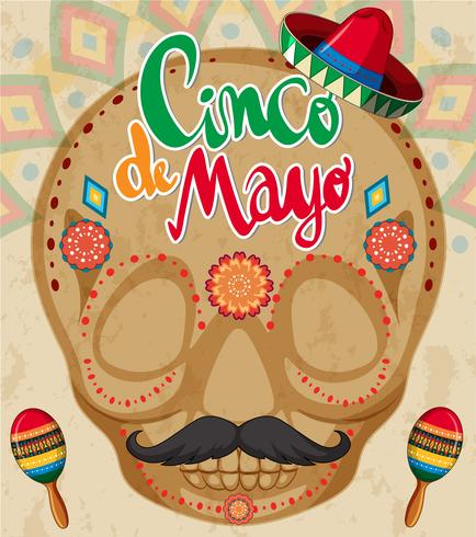 Cinco de mayo card template with human skull