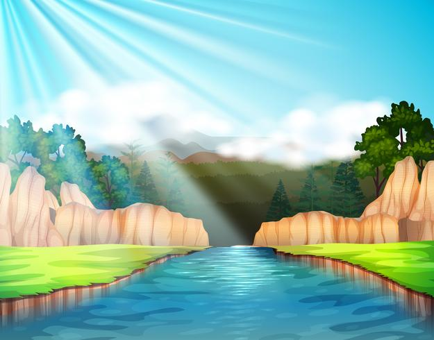 Escena de fondo con río y bosque