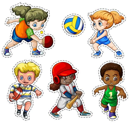 Kids playing different types of sports vector