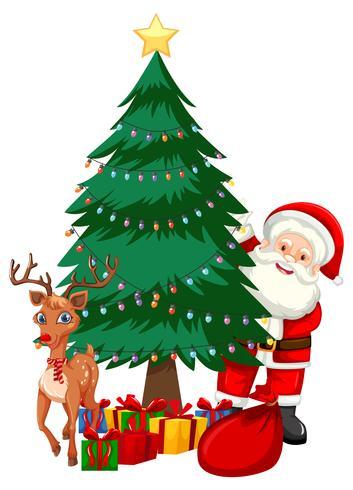 Santa al lado del arbol de navidad