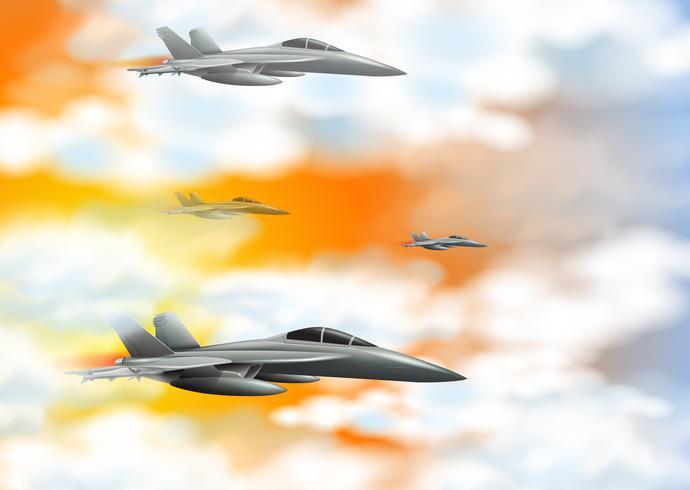 Four fighting jet in orange sky - Download Free Vector Art, Stock Graphics & Images