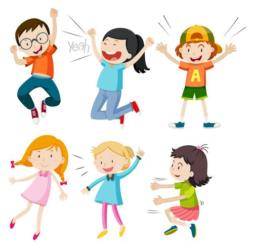 A Set of Active Kids on White Background