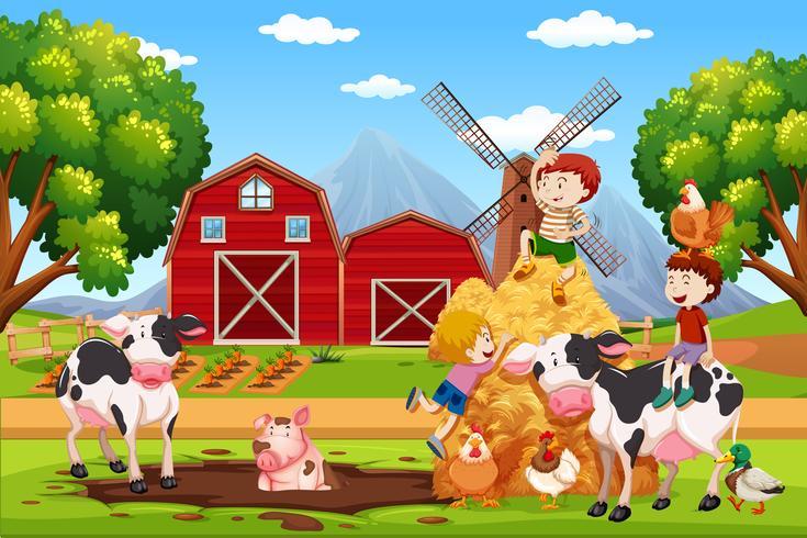 Kids and animals at farmland vector