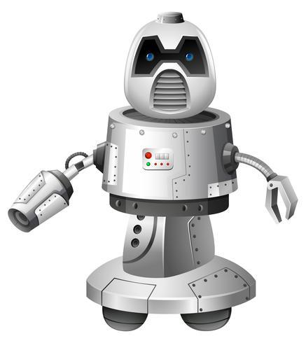 Ein moderner Roboter auf weißem Hintergrund