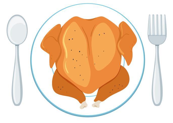 full grillad kyckling på tallrik
