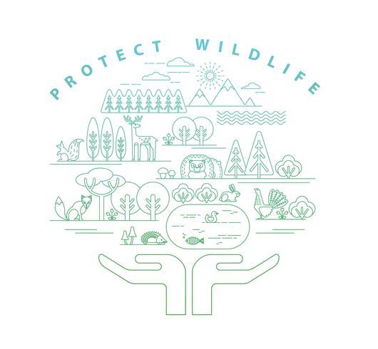 Illustration vectorielle de la nature de la protection.