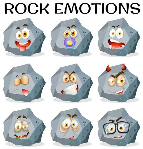 Rock with different facial expressions