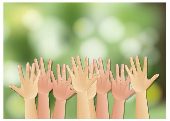 Händer upp på grön bakgrund