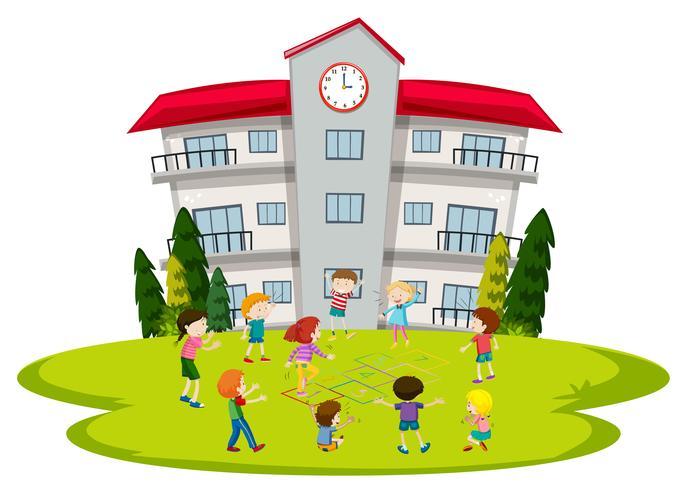 Studenter spelar i skolan