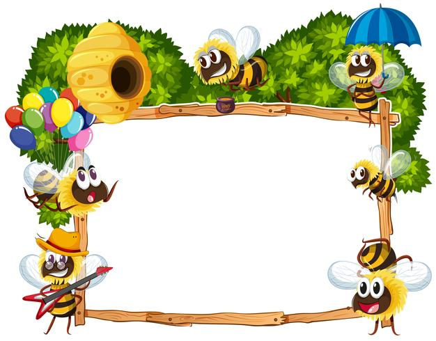 Modello di confine con le api che volano vettore