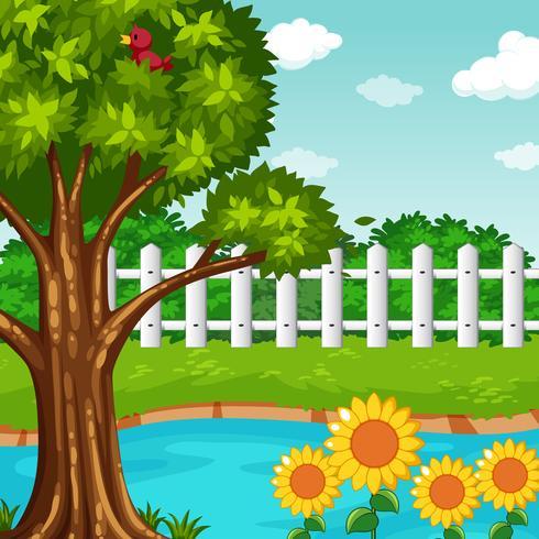 Escena de jardín con estanque y flores.