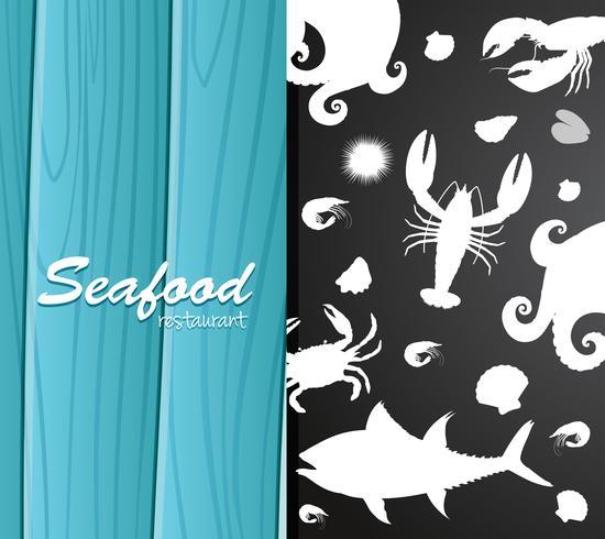 Silhouette skaldjur på restaurang banner