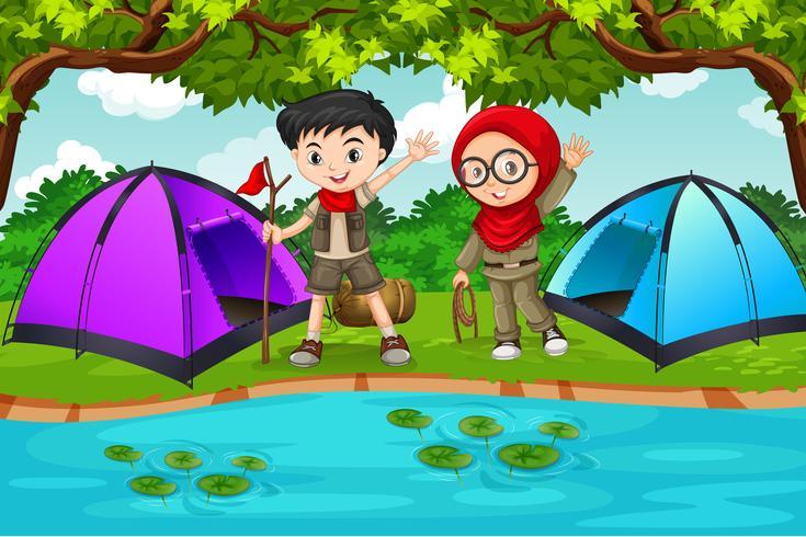Duas crianças, acampamento, cena