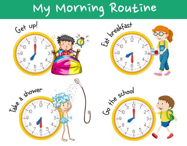 Rutinas matinales con relojes y niños.