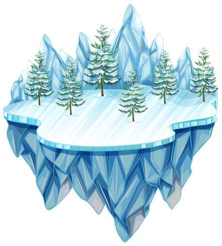 Paesaggio invernale bianco isolato