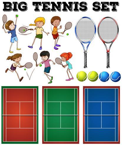 Tennisspelers en tennisbanen