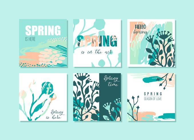 Jeu de cartes de printemps créatif abstrait. Couleurs fraîches.
