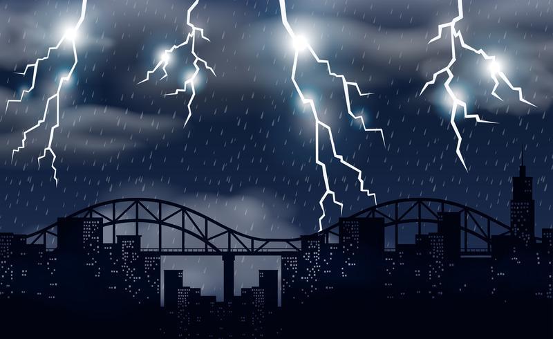 Tempête et éclairage sur la ville
