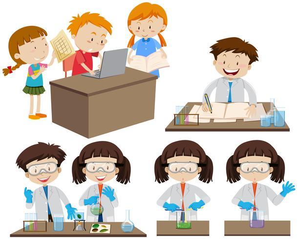 Studenter som arbetar i lab och på dator