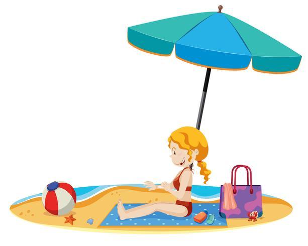 Eine schöne junge Dame am Strand
