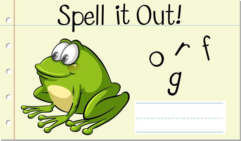 Stava engelska word frog vektor