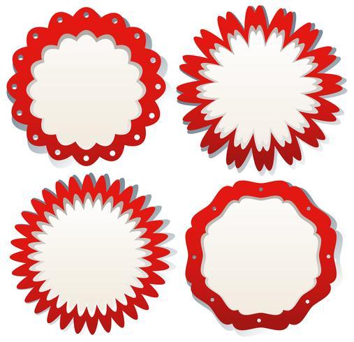 Design de rótulo vermelho sobre fundo branco