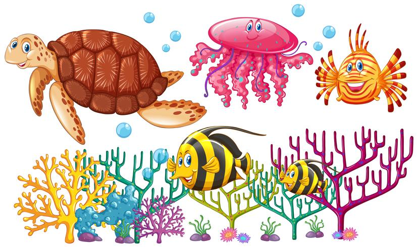 Sea animals swimming around the coral reef vector