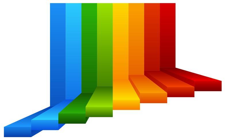 Uma escada colorida no fundo branco