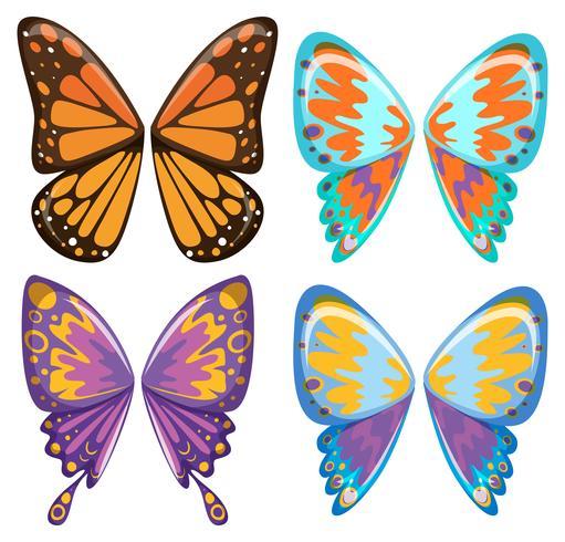 Olika mönster av fjäril vingar