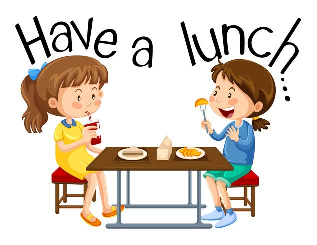 Tjejerna äter en lunch