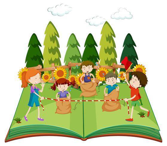 Een popup boek met kinderen die zak springen