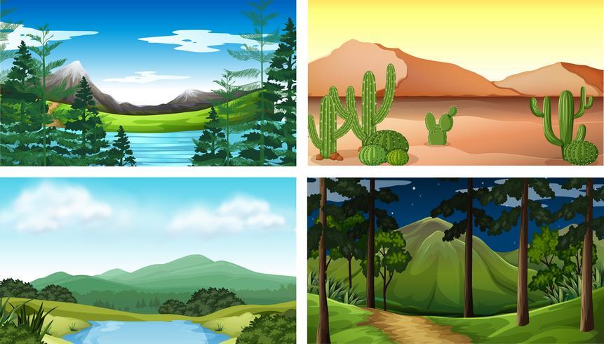 Quatre scènes de la nature avec des arbres et des montagnes