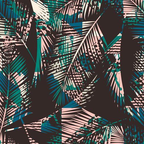 f6ecf0a1e1 Patrón exótico de moda sin costuras con palmeras y prins animales ...