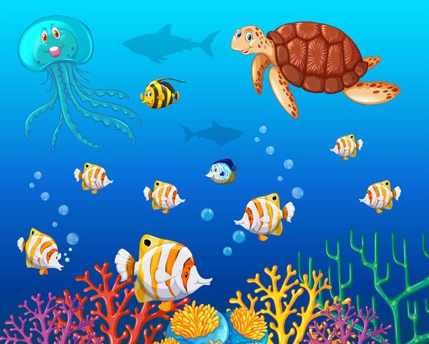 Många typer av havsdjur under havet vektor