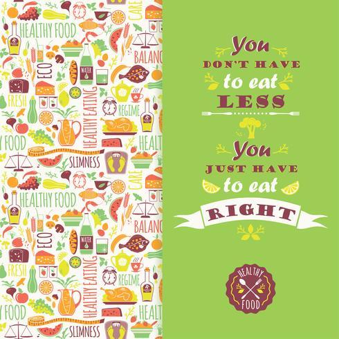 Hälsosam kost bakgrund med citat.