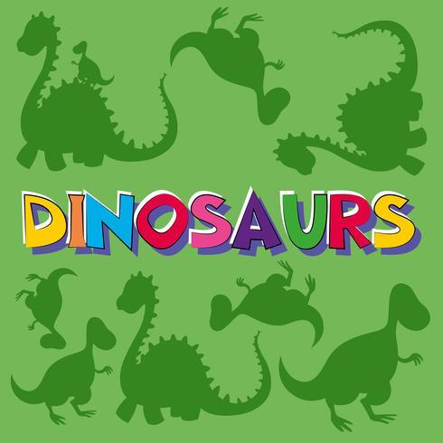Woorddinosaurussen met vele dinosaurussen op achtergrond