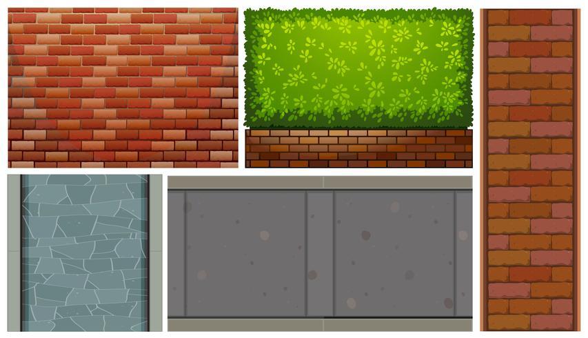 Tegelväggar och grön buske