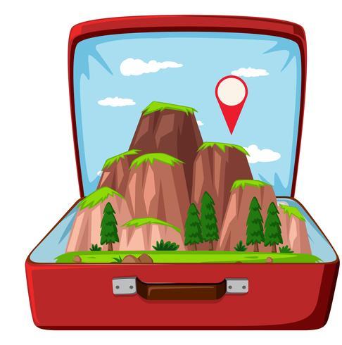 Montagna della natura in valigia
