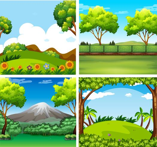 Four background scenes with trees and field