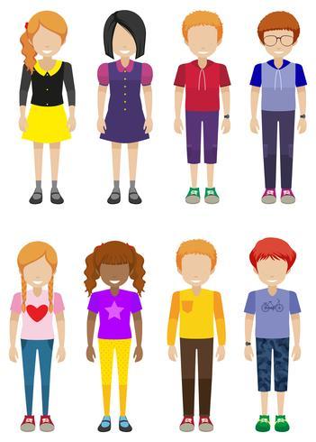 Adolescenti senza volto vettore