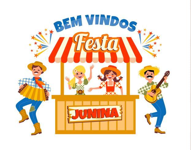 Feriado da América Latina, a festa junina do Brasil. Ilustração vetorial